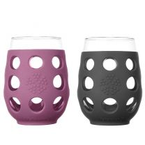 17OZ WINE GLASS 2PK BLK & PRPL