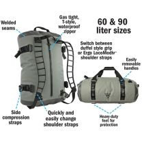 LOCODRY DOWNUNDER ZIPDUFFEL 60 LARGE/GREY/DARKGREY