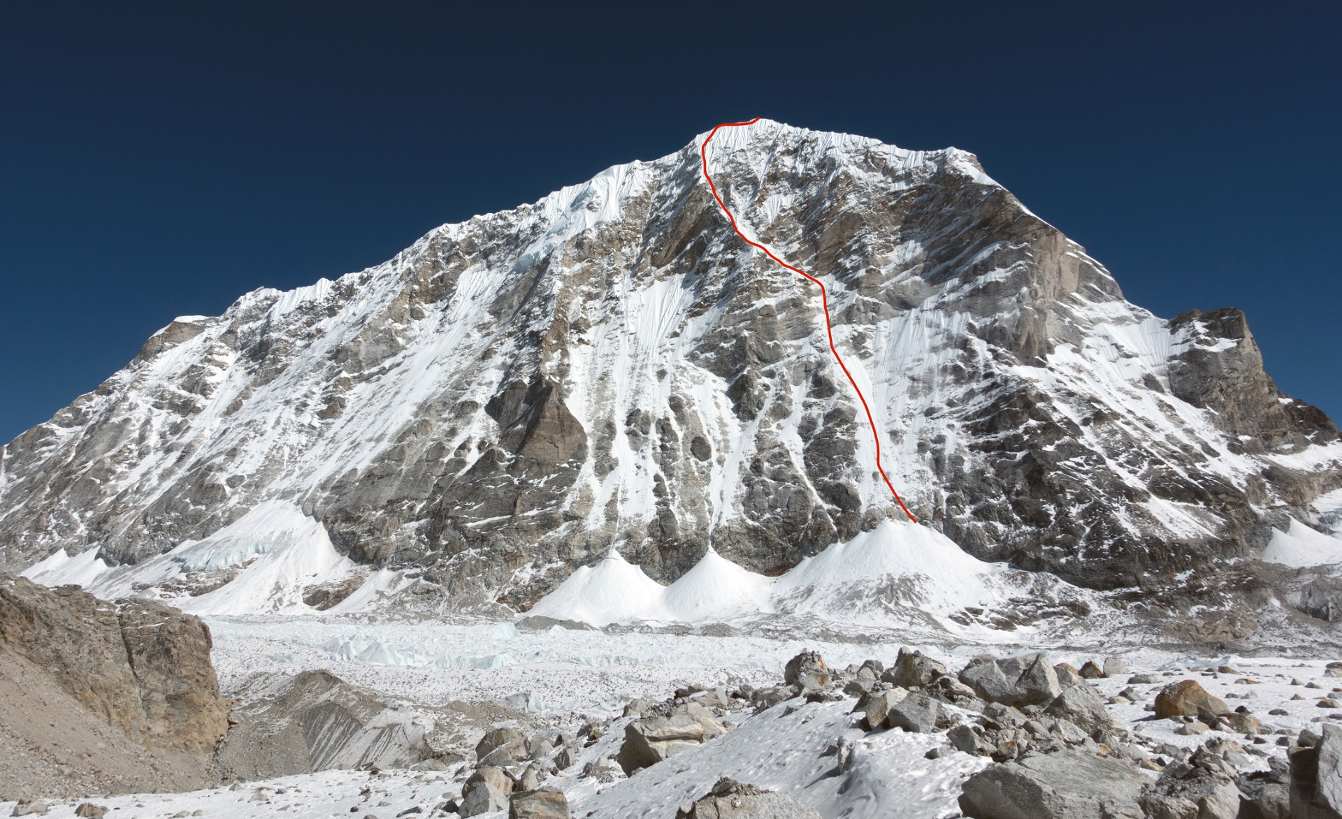 "Drawing of the route ""Release the Kraken"" up the West Face of Tengi Ragi Tau"